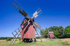 Group of Swedish traditional windmills in red color Royalty Free Stock Photo