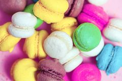 Group of sweet colorful mini macarons Stock Photography