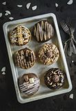 Group of sweet donuts. Group of sweet chocolate and homemade donuts,selective focus royalty free stock photography