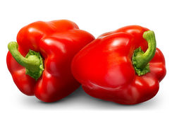 Group of sweet red pepper isolated on white Stock Photos