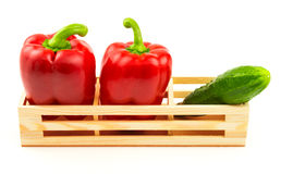 Group of sweet red peppers and fresh cucumber in the wooden box Stock Image