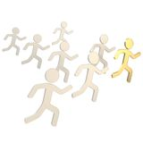 Group of symbolic human figures running for the leader Royalty Free Stock Image