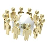 Group of symbolic people surrounding Earth globe Royalty Free Stock Photography
