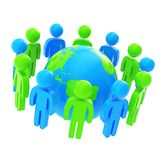Group of symbolic people surrounding Earth globe Royalty Free Stock Images