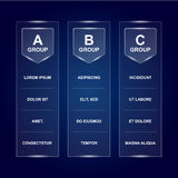 Group table board template. Ready for text and design. Soccer championship group stages design on dark background. UEFA Royalty Free Stock Photos