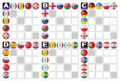 Group tables of  Football. Group tables of European Football Championship 2016 Stock Photos