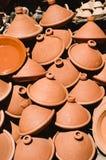 Group of tajine, moroccan pots Royalty Free Stock Image