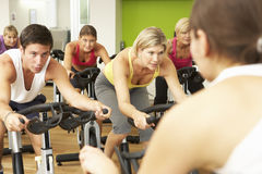 Group Taking Part In Spinning Class In Gym Royalty Free Stock Photography