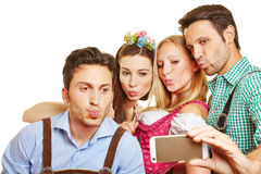 Group taking selfie with duckface Stock Images