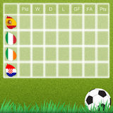 Group talbe of football Stock Images