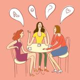 Group of talking girls sitting with coffee. Group of happy girls sitting with coffee at the table and laughing. Cartoon colorful illustration for your design Royalty Free Stock Images