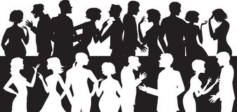 Group of talking people. Silhouettes of people talking and arguing each other Royalty Free Illustration