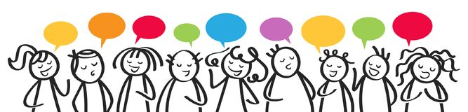 Group of talking stick figures, men and women with colorful speech balloons communicating, horizontal banner. Isolated on white background Royalty Free Stock Photography