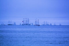 Group of Tall Ships. This group of magnificent Tall Ships are waiting just outside of historic Boston Harbor for the Parade of sails into port. They only do this stock photos