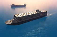 Group tankers. Move into the sea royalty free illustration