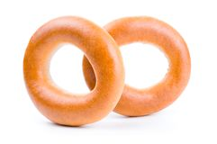 Group of tasty bagels isolated on a white background stock image