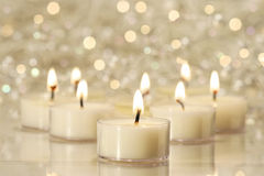 Group of tea lights for holiday celebrations Stock Photo