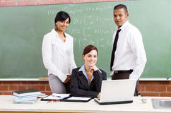Group of teachers. Group of young school teachers in classroom royalty free stock image