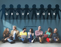 Group Team Work Organization Concept. Group Team Work Organization Discussion Stock Photo
