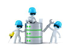 Group of technicians with data base. Technology concept Royalty Free Stock Image