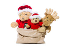 Group of teddy bears isolated for red christmas decoration - con Royalty Free Stock Photography
