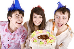 Group of teen with cake celebrate happy birthday. Stock Photo