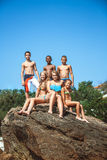 Group of teen friends on the beach Royalty Free Stock Photography