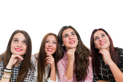 Group of teen girls looking up Stock Images