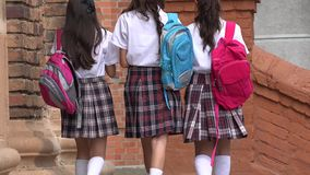 School Girls Walking With Backpacks. A group of teen school girls Royalty Free Stock Photo