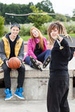 Group of teen skateboarders Stock Photography