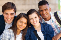 Group teen students. Group of happy teen high school students outdoors Stock Photography