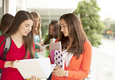Group of teen students smiling. With books Royalty Free Stock Image