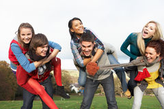 Group Of Teenage Friends Having Piggyback Rides. In Autumn Landscape Stock Photos