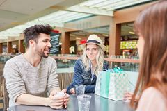 Group of teenage friends talking to each other royalty free stock image