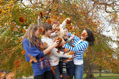 Group Of Teenage Friends Throwing Leaves. In Autumn Landscape Stock Photo