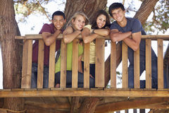 Group Of Teenage Friends In Treehouse Stock Photo