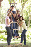 Group Of Teenage Friends By Treehouse Royalty Free Stock Image