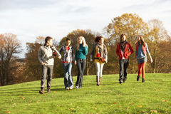 Group Of Teenage Friends Walking. Through Autumn Landscape Stock Photography