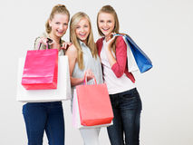 Group Of Teenage Girl With Shopping Bags Royalty Free Stock Image