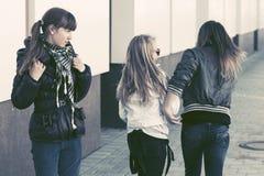Teen girls in conflict at school building Stock Images