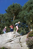 Group Of Teenage Girls Hiking In Countryside Stock Image