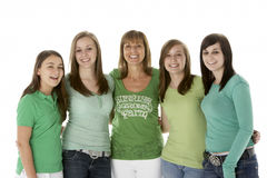Group Of Teenage Girls With Mother Stock Photo