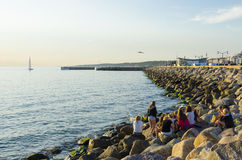 Group of teenage girls at pier Stock Image