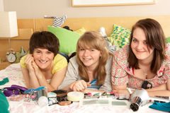 Group Of Teenage Girls In Untidy Bedroom Royalty Free Stock Photo