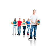Group of teenage students isolated on white. Large group of teenage students isolated on white background. Many different people standing together. School Royalty Free Stock Images