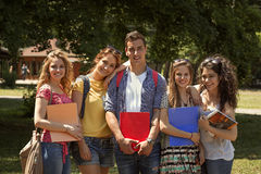 Group of teenage students. Outdoor Royalty Free Stock Photos