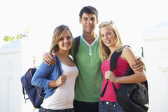 Group Of Teenage Students Standing Outside Campus Building Royalty Free Stock Photo