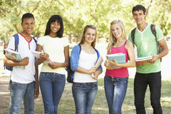 Group Of Teenage Students Standing In Park Stock Photo
