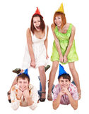 Group of teenager in party hat. Royalty Free Stock Image