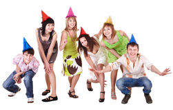Group of teenager in party hat. stock photography